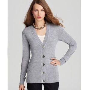 Tory Burch Simone grey cardigan sweater S